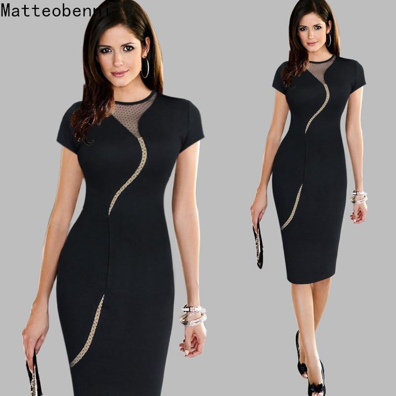 Women Vintage Wear to Work Elegant Knee Length vestidos Business Party Bodycon Sheath Office Ruffle Ladies Black Mesh Dress Suit