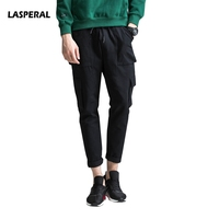 LASPERAL 2017 New Autumn Solid Many Pocket Men S Casual Pants Slim Fit Trousers Ninth Pants