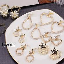 UMODE ZA Vintage Gold Dangle Drop Earrings 2019 For Women Pearl Earring BOHO Bohemian Beach Korean Fashion Jewelry Party Gift(China)