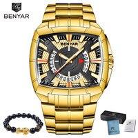 2019 New BENYAR Luxury Brand Mens Sport Watch Gold Full Steel Quartz Watches Men Waterproof Military Clock Man Relogio Masculino