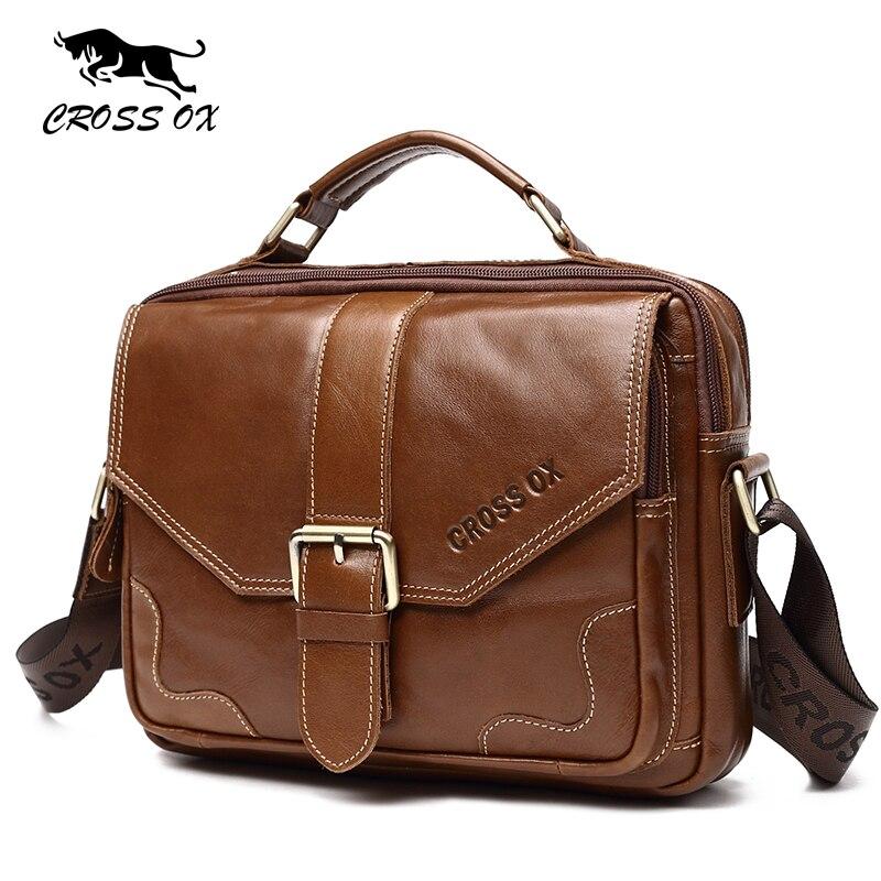 где купить  CROSS OX Men Genuine Leather Handbag Cow Leather Shoulder Bag Vintage Brown Flap Male Bag With Zipper and Hasp SL402M  по лучшей цене