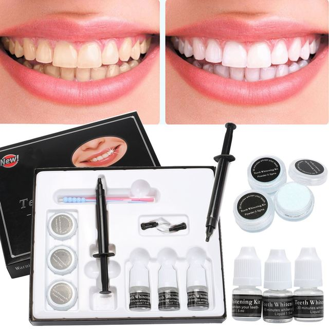 Professional Teeth Whitening Kit 35 Hydrogen Peroxide Tooth Whitener With Powder Syringe Needle Heads Clinic
