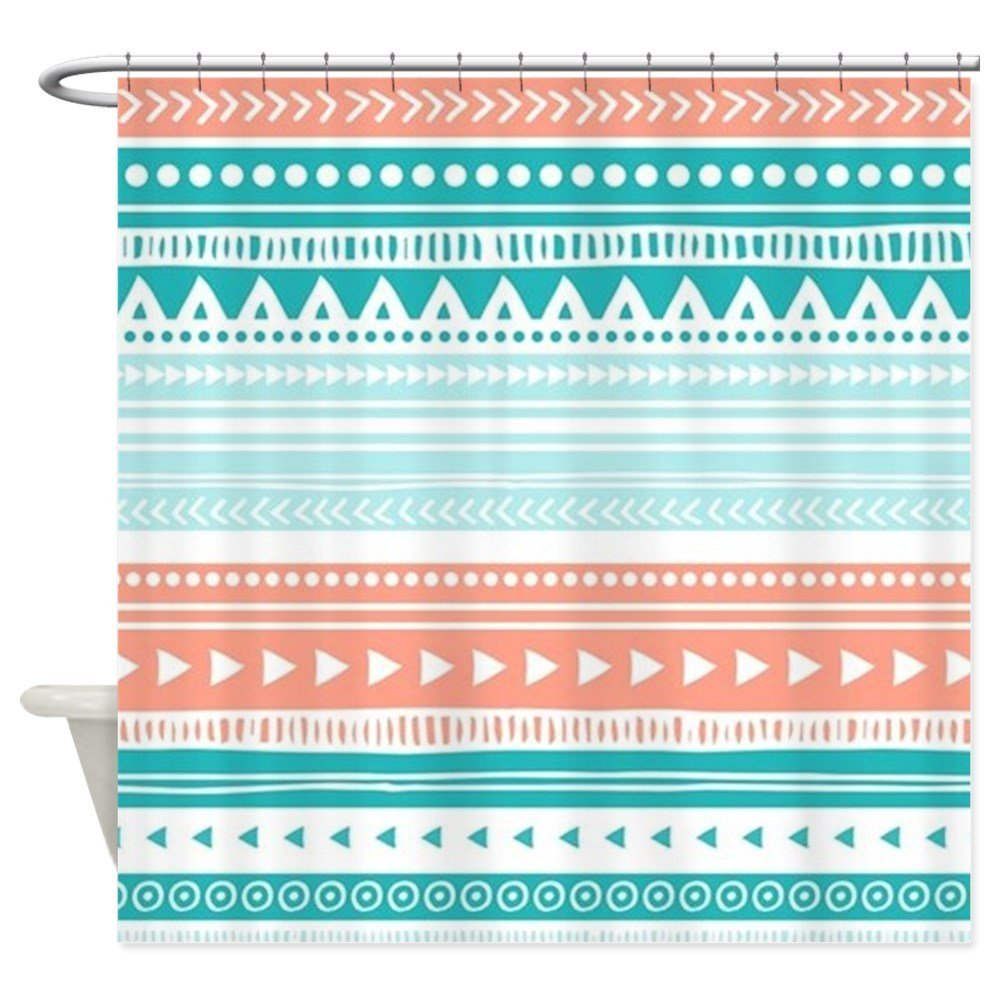 Coral Teal Tribal Vintage Stripes Decorative Fabric Shower Curtain
