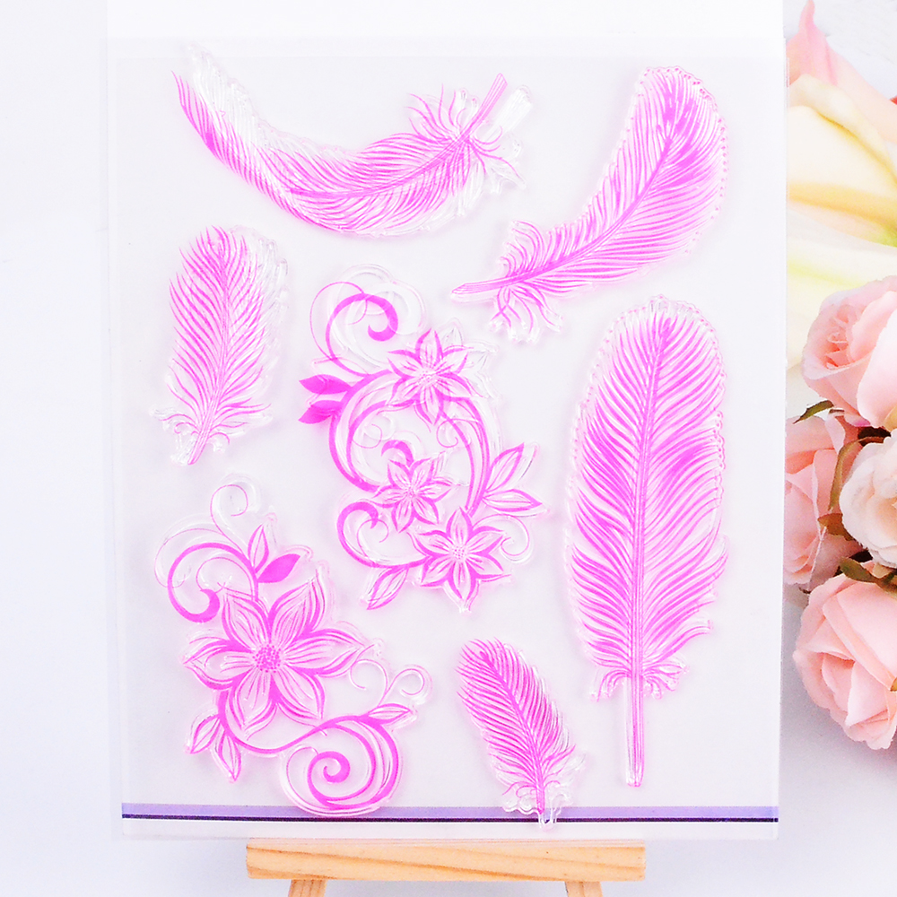 DECORA 1PCS Feather Design Transparent Clear Stamp for Scrapbooking Stamping Photo Album Paper Crafts Christmas Decoration DIY T lovely animals and ballon design transparent clear silicone stamp for diy scrapbooking photo album clear stamp cl 278
