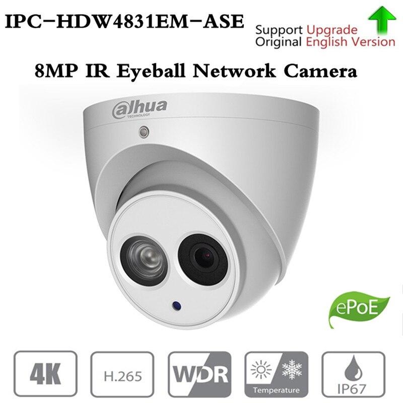 Câmera do IP Da Rede Globo Ocular IPC-HDW4831EM-ASE 8MP ahua H.265 50 m IR WDR Detecção Inteligente Microfone Embutido Suporte para Cartão Micro SD IP67 PoE