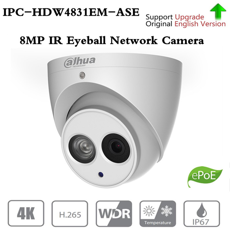 ahua 8MP Eyeball Network IP Camera IPC-HDW4831EM-ASE H.265 WDR Smart Detect Built-in Mic 50m IR Support Micro SD Card IP67 PoE ahua ipc eb5531 5mp wdr panorama 180 degree built in mic with sd card slot poe network fisheye ip camera replace ipc eb5500