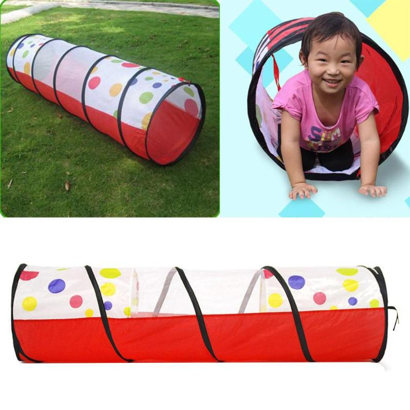 Circle Dot Tunnel Tube Portable Folding Tipi Children Kids Play Toy Tent Breathable crawling tunnel