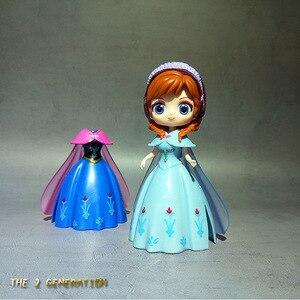 Image 4 - 6個冷凍エルザ白雪姫プリンセス変更服人形ドレス置物アニメアクションフィギュア女の子のおもちゃ誕生日ギフト