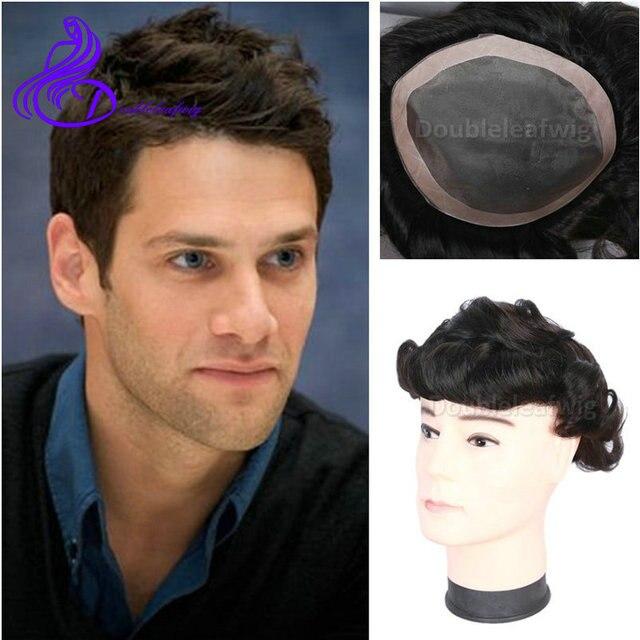 Brazilian Mens Toupee Full Lace Human Hair Wigs Short Natural Hair
