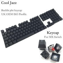 купить Cool Jazz Double-shot Black Thick PBT UK ISO layout 109 key backlit Keycaps OEM Profile Keycap For MX Mechanical Keyboard онлайн