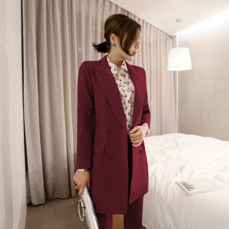 And 2018 Work 2 Women Bgteever Long Pant Purple Purple Blazer Business Jacket Doble Suit Unidades Red Set Breasted wine Fashion Straight qwT1vwxA