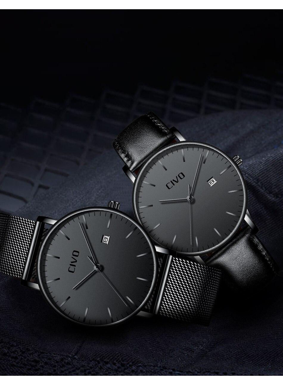 CIVO Men Watch Ultra Thin Minimalist Waterproof Date Wrist Watch For Men Black Genuine Leather Business Fashion Watch Men Clock 10