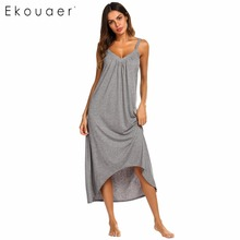 Ekouaer Nightgown Women Nightwear Dress Solid Irregular Hem Spaghetti Strap Loose Dress V Neck Nightdress Sleepwear