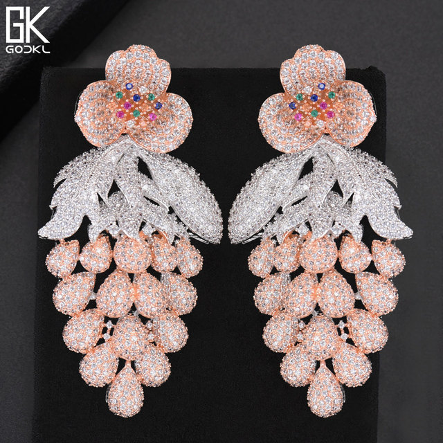 GODKI 75mm Pink Trendy Luxury Grape Nigerian Tassels Long Dangle Earring For Women Wedding Zircon CZ Indian Dubai Bridal Earring