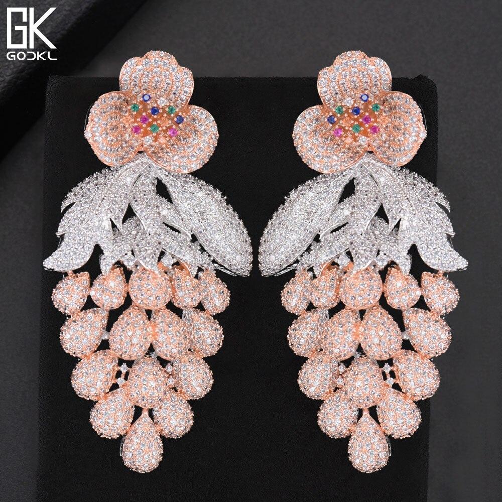 GODKI 75mm rose à la mode luxe raisin nigérian glands longue boucle d'oreille pour les femmes de mariage Zircon CZ indien dubaï boucle d'oreille de mariée