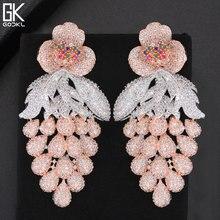 GODKI 75mm rose à la mode luxe raisin nigérian glands longue boucle doreille pour les femmes de mariage Zircon CZ indien dubaï boucle doreille de mariée