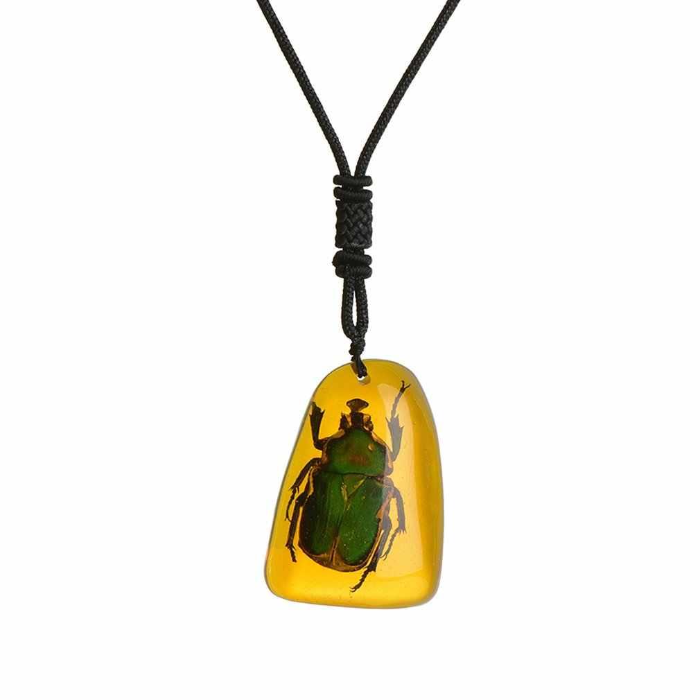 Luksusowe bursztyn owady kamień wisiorek naszyjnik unisex smar dźwięk ulgę w bólu DIY biżuteria wisiorek Craftse