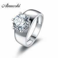 925 Pure Silver Classic Simple Plain Design Lovers Rings SONA Simulated Diamond Man Woman Couples Wedding