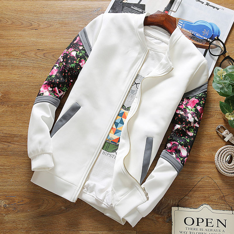 2019   Jackets   Women Fashion Spring Causal Flowers Floral   Basic     Jackets   Windbreaker Ladies Coats Zipper Lightweight   Jacket   Famale