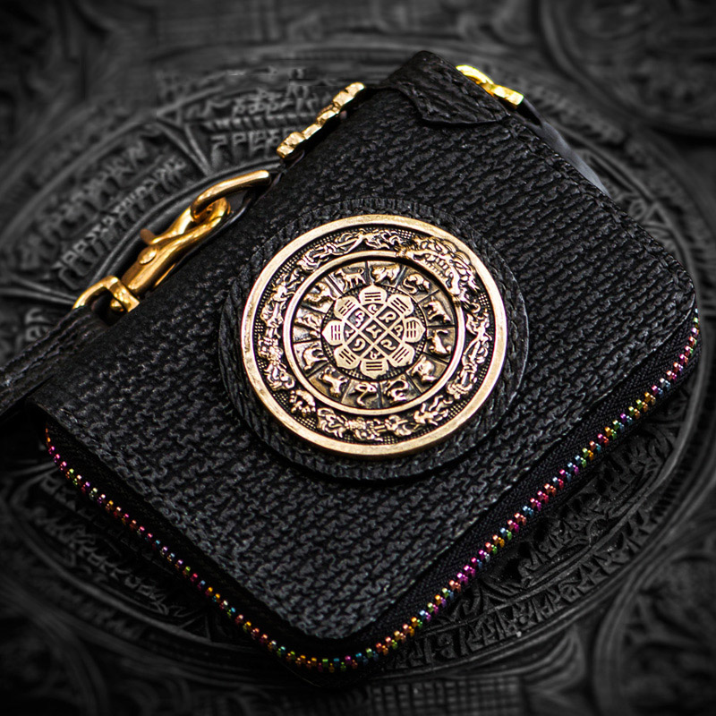 Snowland Tibetan mystic auspicious characters pattern men wallets Lawrence wheel calfskins womens wallets and coin purse