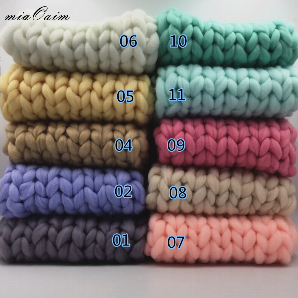 5pcs/lot 45*45cm Hand Knit Soft Baby Blanket Super Thick Blanket Baby Girls Boys Photo Basket Filler Newborn Photography Props crochet baby blanket newborn photography props chunky knit blanket basket filler background photography studio accessories