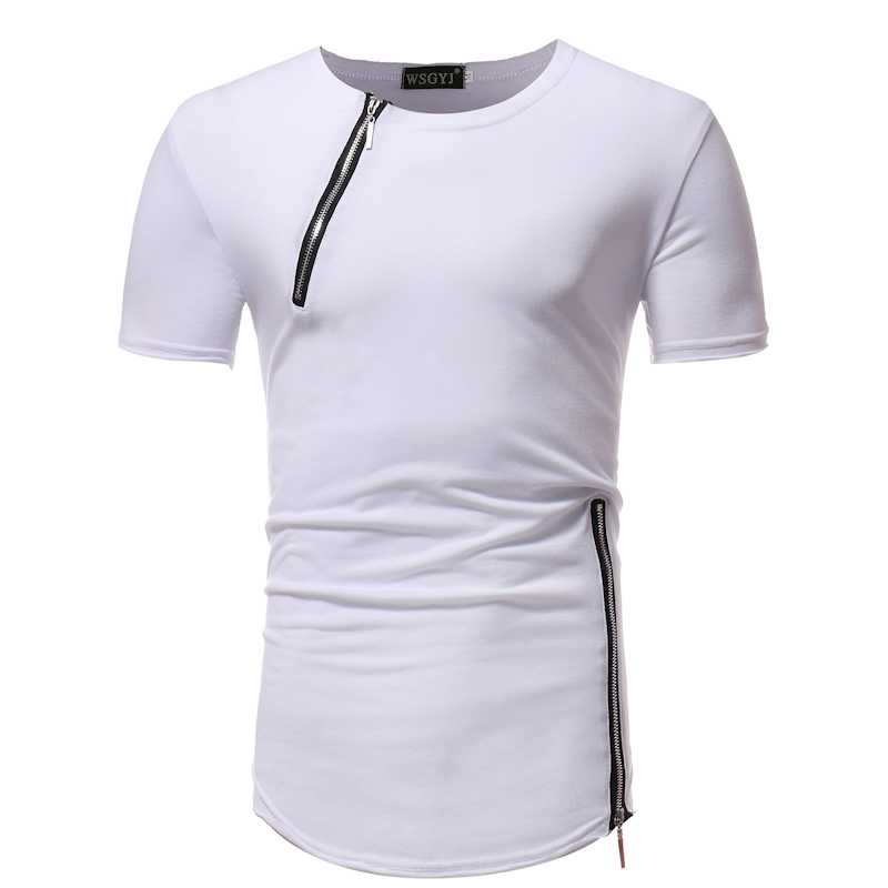 Men's short Sleeve T-Shirt Fitness Muscle Brand Tops Tees New Zipper decoration Men Pure color T-Shirt Casual bottoming shirt