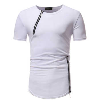 Men's short Sleeve T-Shirt Fitness Muscle Brand Tops Tees New Zipper decoration Men Pure color T-Shirt Casual bottoming shirt - DISCOUNT ITEM  22% OFF All Category