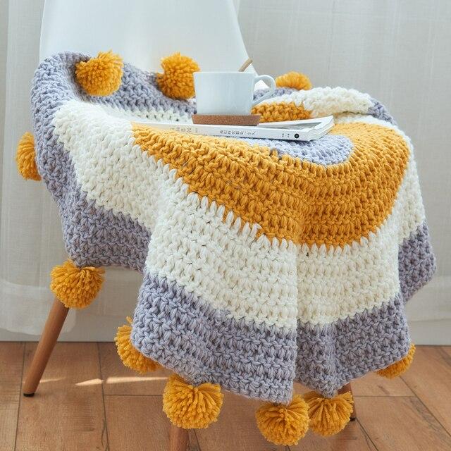 80 CM Nouveau Acrylique Fait Main tricot Tapis bande tapis chambre ...