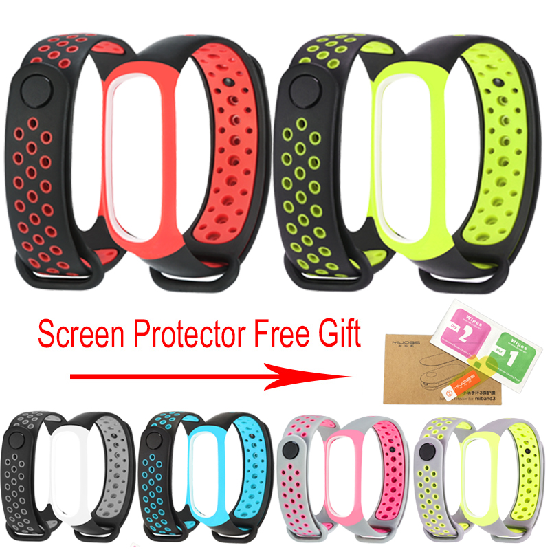 EMMIFIT Mi Band 3 wrist strap 3 sport Silicone for xiaomi Mi band 3 band3 smart watch