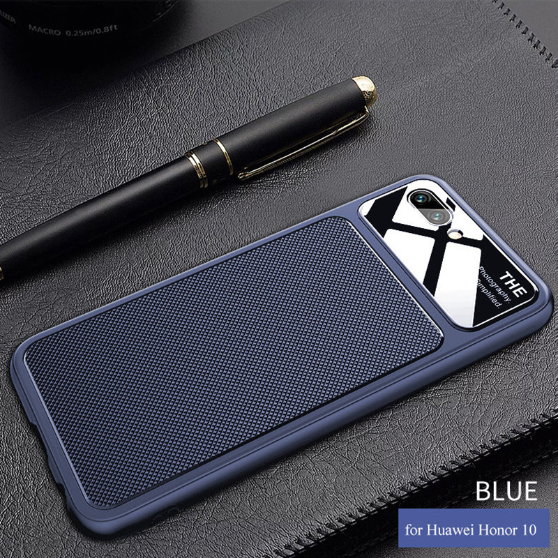 Anti-fingerprint Glass Soft Case 3D diamond Patterned TPU Soft Case for Huawei honor 10 Case for Huawei honor 10 Lite Cover