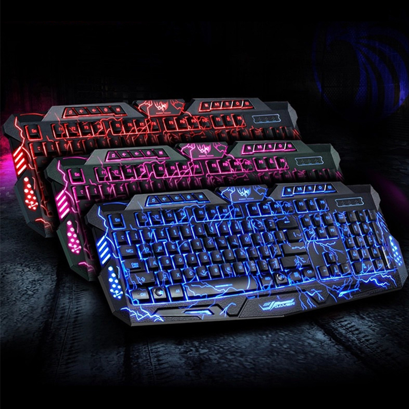 Russe mécanique sentiment jeu clavier Gamer Klavye souris ensemble Usb filaire Led respiration 114 clé jeu professionnel
