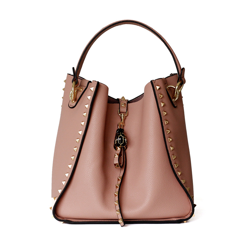 405f02ae2096 Hot Selling 2019 Famous Brand Designer Women s Bucket Bag Genuine Leather  Ladies Rivet Handbags Female Shoulder