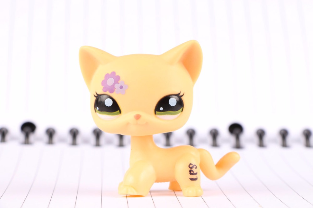 New Pet Collection Figure LPS #1962 Purple flower Kitty Cat Green Eyes Kids Toys lovely pet collection lps figure toy black yellow short hair siamese cat blue eyes nice gift kids