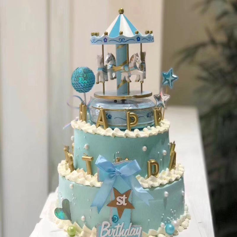 Remarkable Musical Carousel Cake Toppers Newborn Baby Boy First Birthday Girl Personalised Birthday Cards Beptaeletsinfo