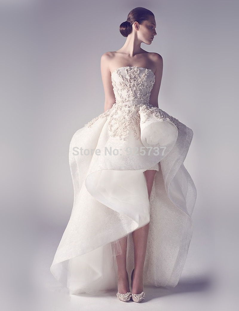 a line high low wedding dress hi low wedding dress A line high low wedding dress