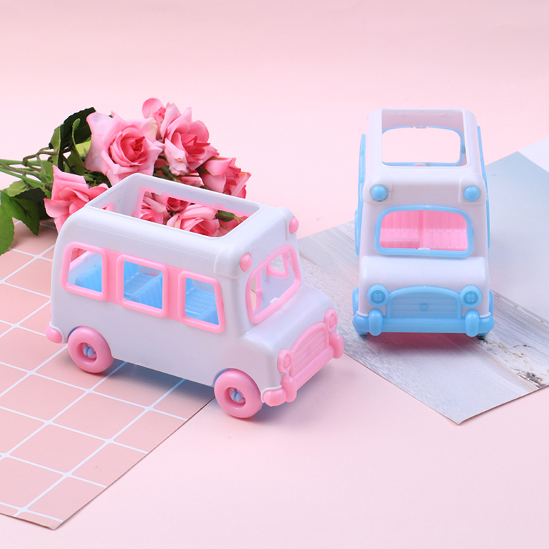 One Piece Car Plastic Car Model Baby House Game Toy Mini Bus Plastic Model House Game Toy Doll Car Baby Toy
