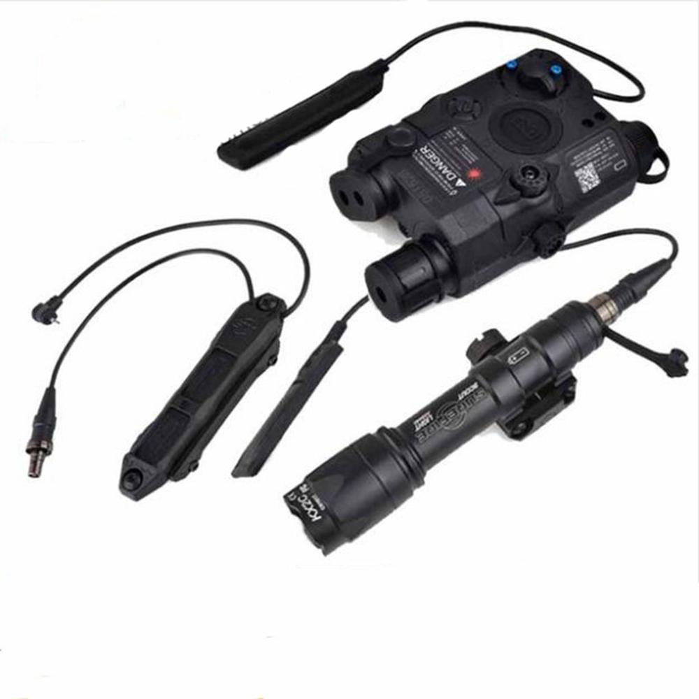 Lampe de poche tactique de chasse Airsoft surefir M600C arme Scout lumière IR PEQ 15 vert bras Laser pistolet lampe Double interrupteur de commande