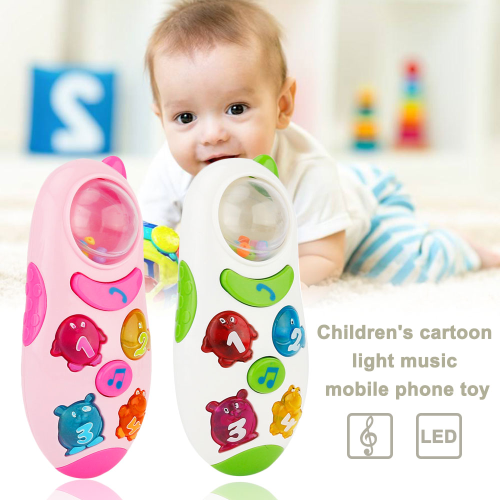 Cute Mini Music Phone Toy Children Cartoon Mobile Phone Light Music Sound Toys Baby Toddlers