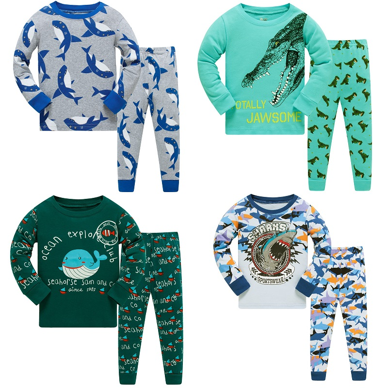 3-8 Year Children   Pajamas     Sets   Shark Baby Boys Sleepwear nightdress Blue Boy pijama loungewear T-Shirt Trouser PJS Cotton