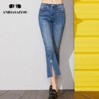 Женские брюки 2018 лето женские джинсы с высокой талией тонкие джинсы женские винтажные повседневные джинсы укороченные брюки