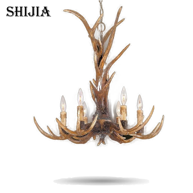 Europe Country 6 Head Candle Antler Chandelier American Retro Resin Deer Horn Lamps Home Decoration Lighting E14 110-240V europe country 5 heads french retro pendant light resin deer horn antler glass lampshade home decoration lighting e27 110 220v