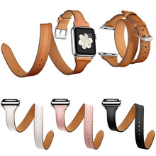 44mm 40mm Genuine Leather Band for Apple Watch Series 5 4 3 2 1 Double Tour Bracelet Leather Strap Womens Watchband 38mm 42mm
