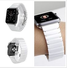 Venta caliente brazalete de eslabones de cerámica mariposa hebilla de correas de reloj de correa de bandas iwatch apple watch 42mm38mm reemplazo pulsera