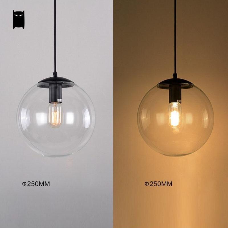 25/30/40cm Iron Clear Glass Globe Ball Pendant Light Fixture Modern ...