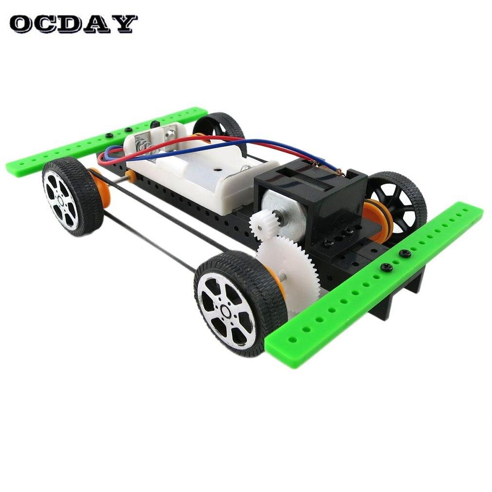 OCDAY Mini Battery Power Car Assembly Model Kit Developmental Toy Science Experiment Educational Toys DIY Xmas Gift For Children