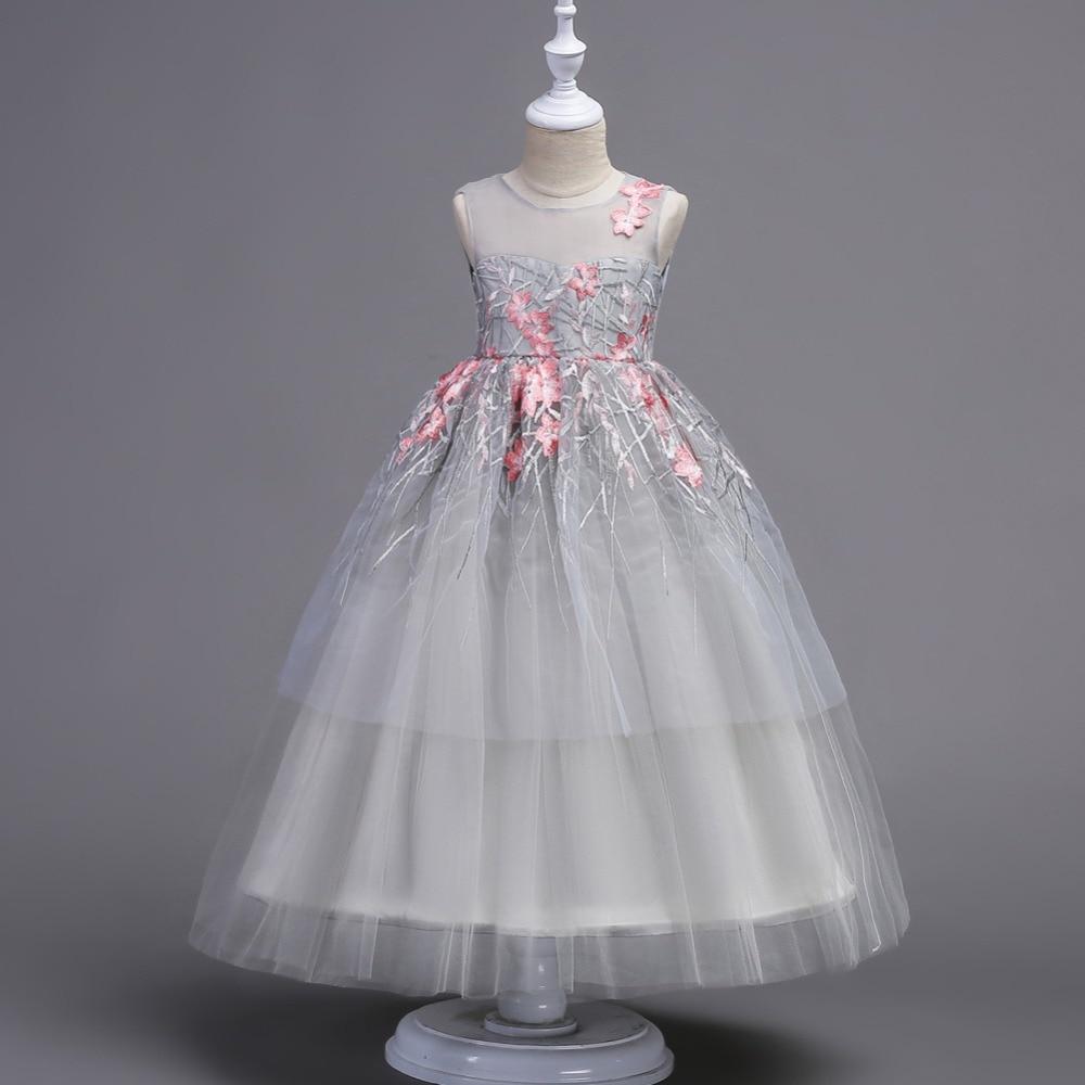 Sexy transparent girls princess party dress Embroidery children birthday girl wedding dress 2018 shirred bardot embroidery dress