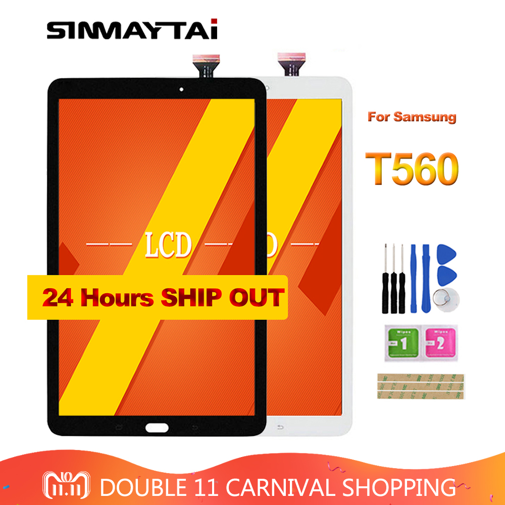 Sinmaytai For Samsung Galaxy Tab E 9.6 SM-T560 T560 SM-T561 LCD Display Touch Screen Digitizer Assembly Replacement кострикин п ред большая книга развивающих наклеек кошки и собаки