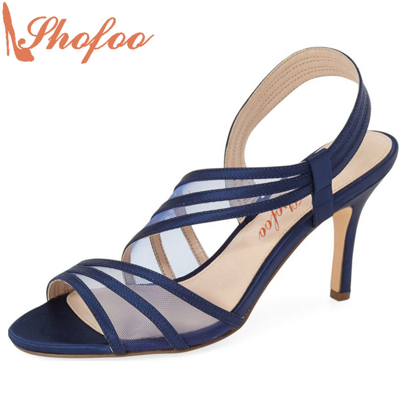ФОТО Shofoo Summer Brand Shoes Sandals 2017 Sexy Navy Stylish Lace High Heels Peep Toe Women Shoes Ivory Sandals Wedding/Dress Ladies