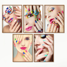 Nail Polish Eye Shadow Fashion Girl Wall Art Canvas Painting Nordic Posters And Prints Wall Pictures Cosmetics Beauty Shop Decor cosmetics shop ru