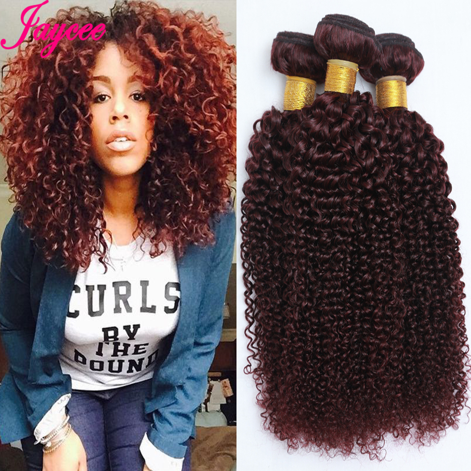 8A 99j Indian curly virgin hair unprocessed Red kinky ali moda deep human extensions - Jaycee Hair Products store